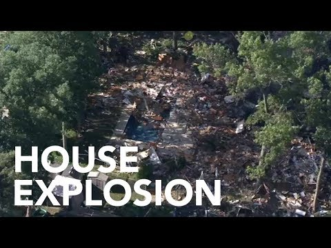 House explosion in New Jersey - Chopper 6 over Newfield, N.J.