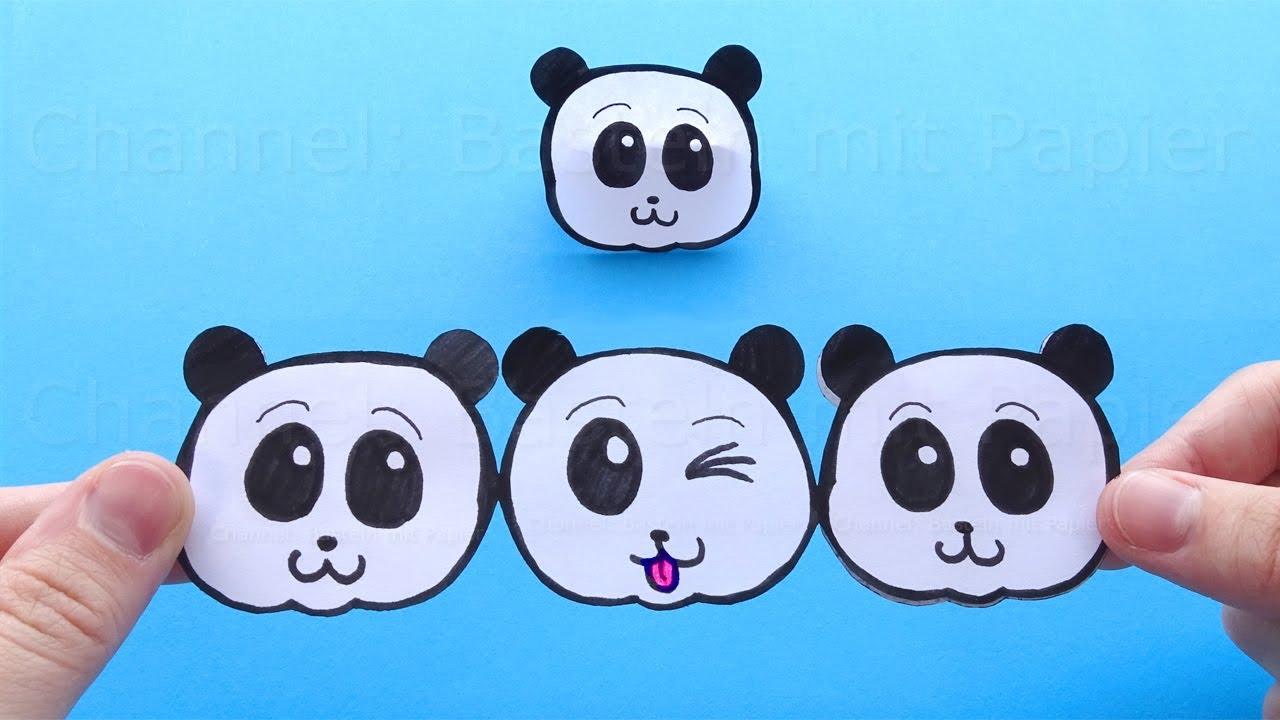 Lustiges Geschenk mit Papier basteln 🐼 Panda aus Papier als Geschenk selber machen 🐼