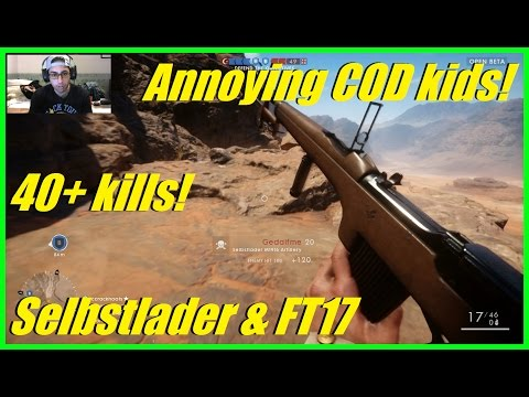 Battlefield 1 - ANNOYING COD KIDS! | Tough rush match! | 40+ kills! (Selbstlader & FT17)