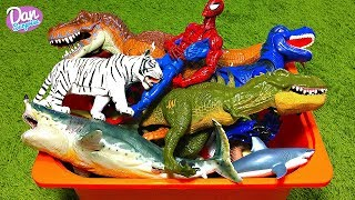 BOX OF TOYS FOR KIDS: JURASSIC WORLD DINOSAURS, WILD ANIMALS, SEA ANIMALS, SPIDER-MAN and more!