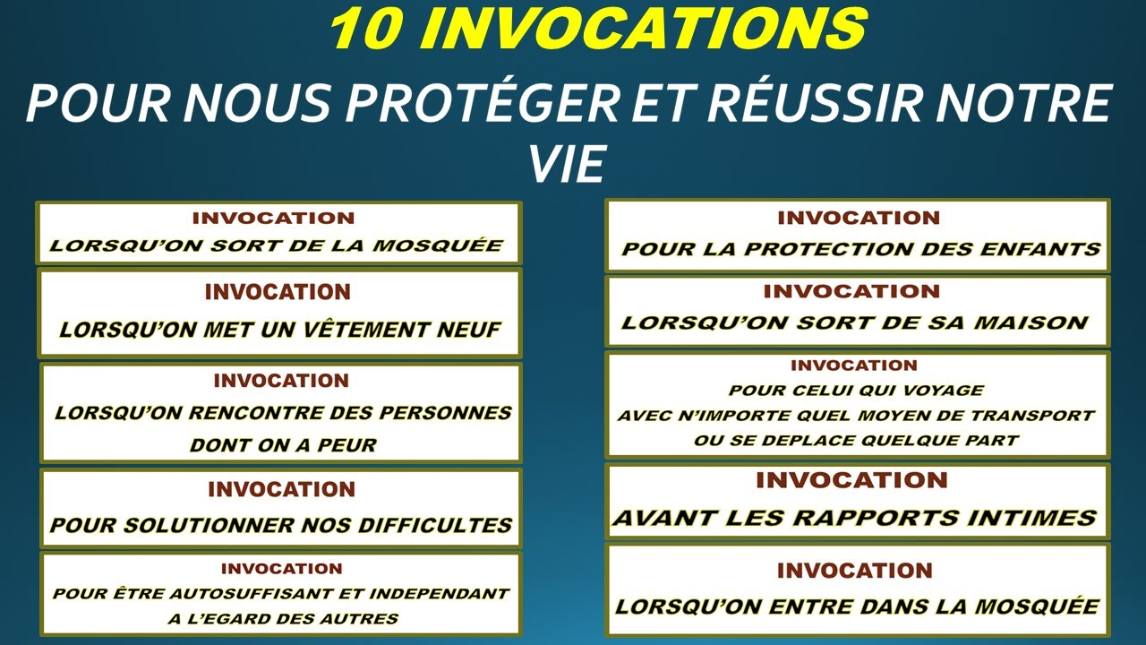 Assez 10 INVOCATIONS POUR NOUS PROTÉGER ET RÉUSSIR NOTRE VIE ICI-BAS ET  JM91