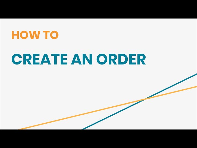 How to Create an Order