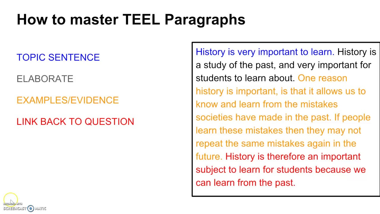 How to write a TEEL paragraph about anything