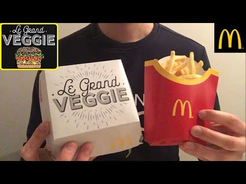 FOOD ASMR Mcdo Test LE GRAND VEGGIE (burger végétarien) – eating / nourriture / mukbang – Français