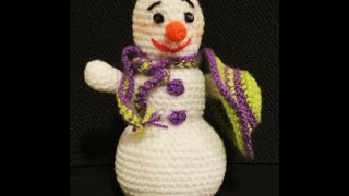 СНЕГОВИК  Часть 1 Вязание крючком  Snowman Part 1 Crocheting