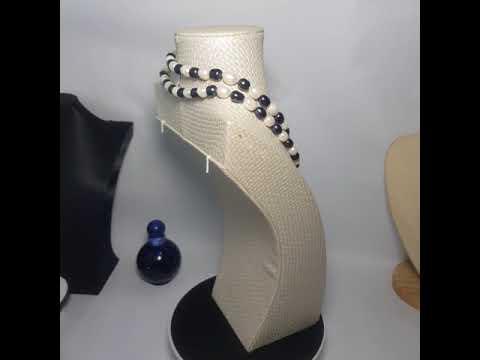 Vòng cổ Ngọc trai Cao cấp - ChuỗI đơn dáng dàI - BlackWhitePearl (8-12ly) - CTJ1004 + Tặng kèm khoá tạo kiểu
