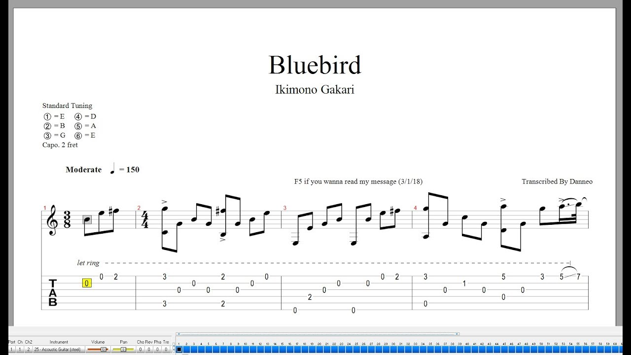 Bluebird naruto op3 (nathan fingerstyle) fingerstyle guitar [tab.