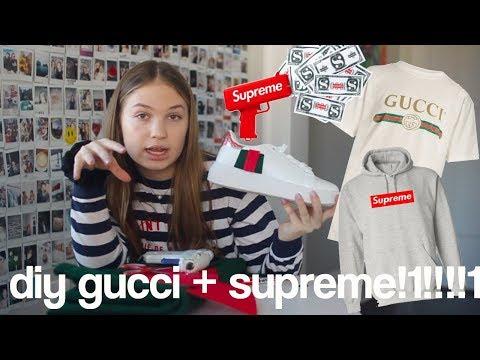 278f8ce04a57 DIY Gucci + Supreme Clothes ($2,000 clothes OMG) - YouTube
