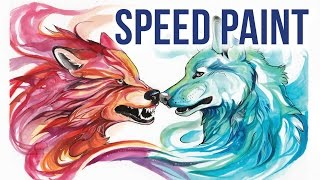 Speed Painting: Fire and Ice Fantasy Wolves