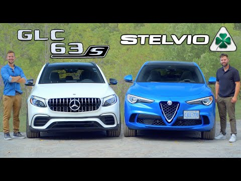 2019 Alfa Romeo Stelvio Quadrifoglio vs Mercedes-AMG GLC 63S // $100,000 Savage SUVs Face Off
