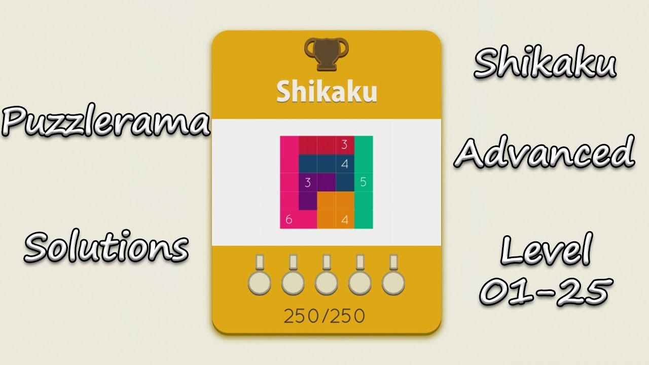 Puzzlerama Solutions - Shikaku Advanced ( Level 01-25 )
