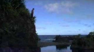 After surviving the big rock jump, the local Hana boy performs a ba...