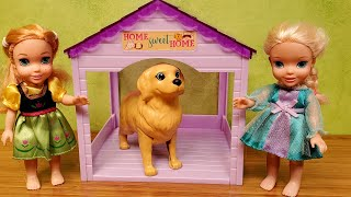 Pet Vet ! Elsa & Anna Toddlers Take Their Dog To Barbie The Doctor