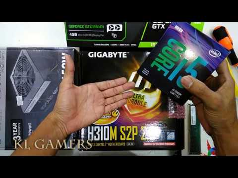 Intel Core I5 9400F GIGABYTE H310M S2P 2.0 ADATA DDR4 GTX 1650 Thermaltake 650W Gaming Rig 2019