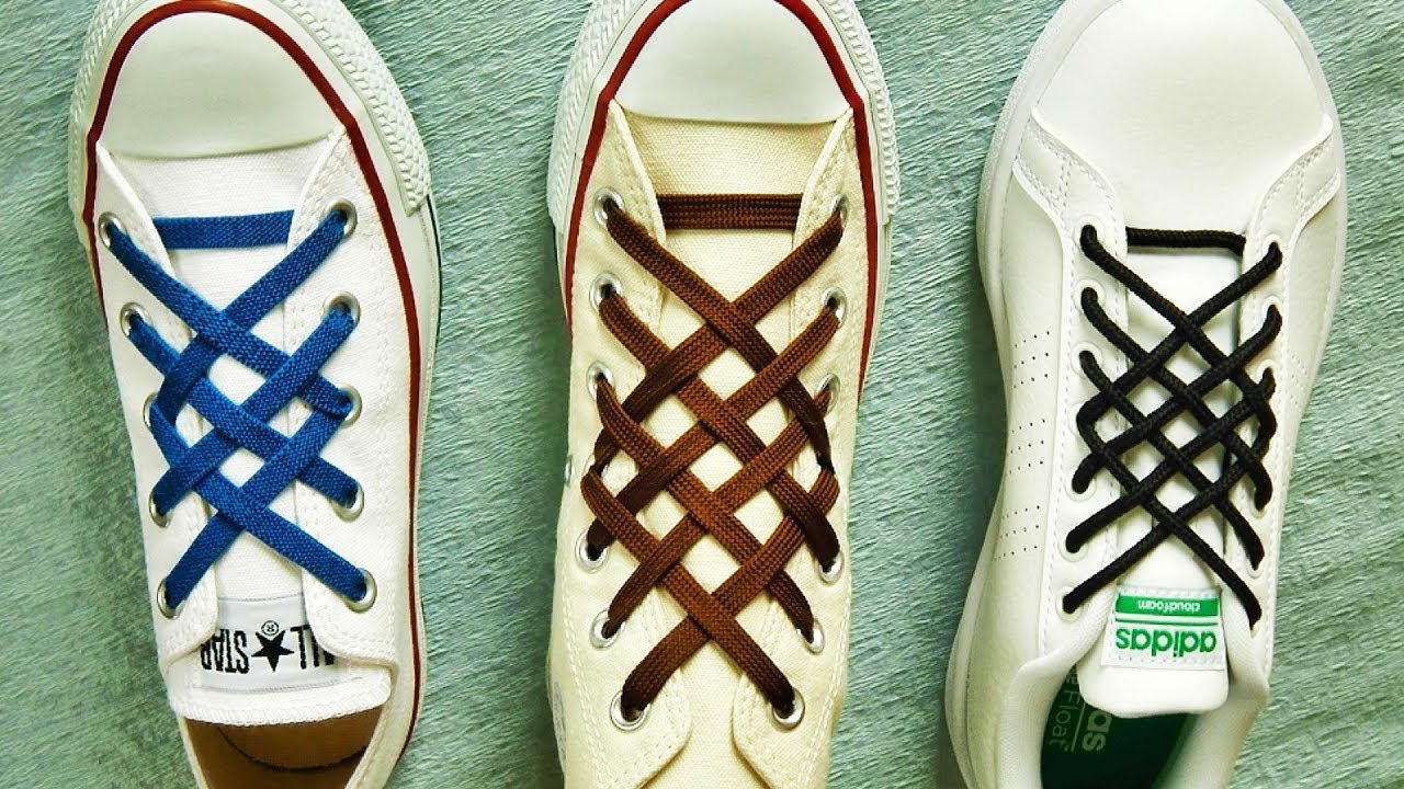 2964eb249668aa 〔靴紐の結び方〕格子模様がきれいな靴ひもの通し方 格子結び how to tie shoelaces 〔生活に役立つ!〕