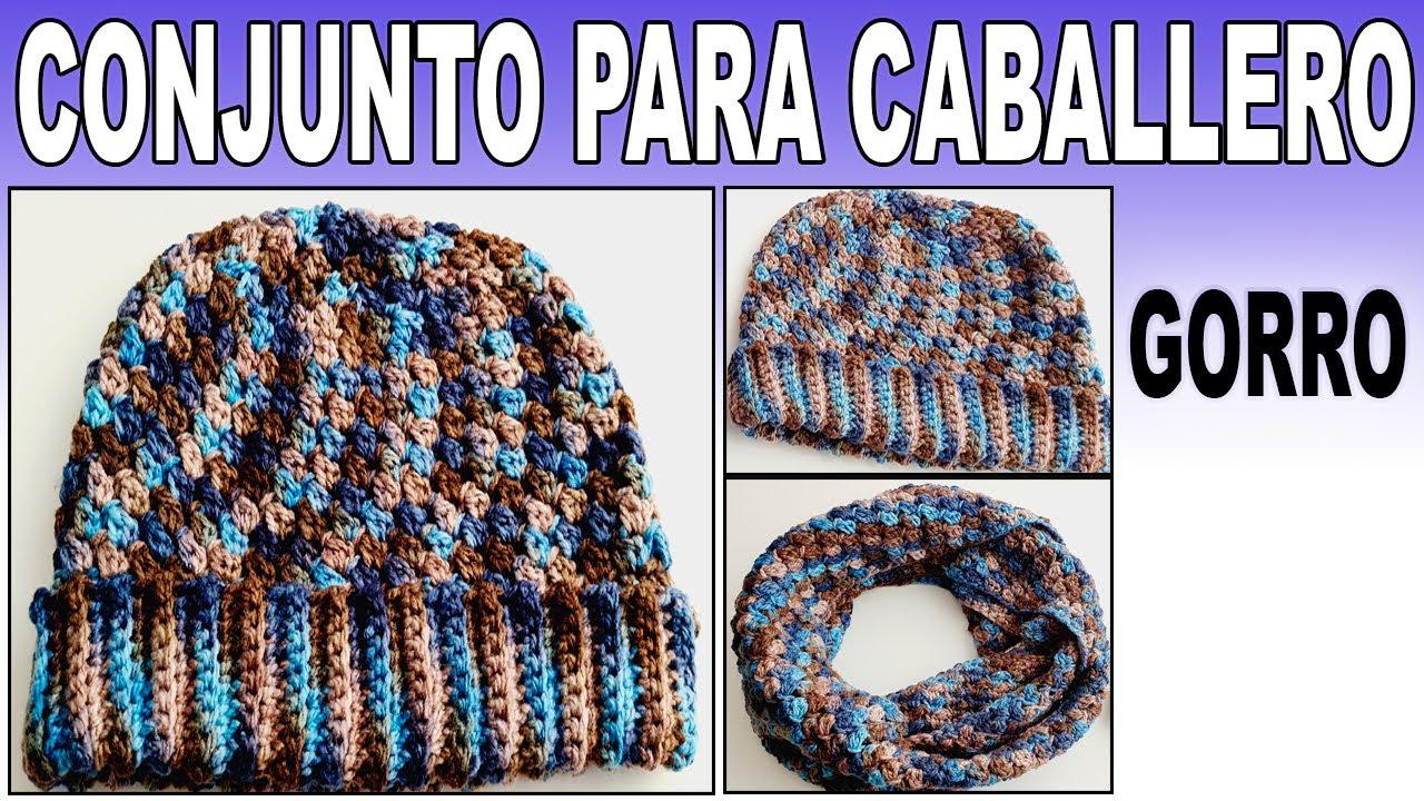 Conjunto para caballero | Gorro a crochet para Hombre punto Granizo | Gorro facil y rapido