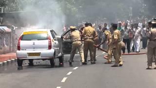 car bursting into flames at palayam trivandrum
