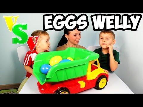 Челлендж. Машинки Велли сюрпризы для детей. Challenge Surprise Eggs Cars Welly Kinder Toys