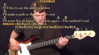 Seven Wonders (Fleetwood Mac) Bass Guitar Cover Lesson in E with Chords/Lyrics