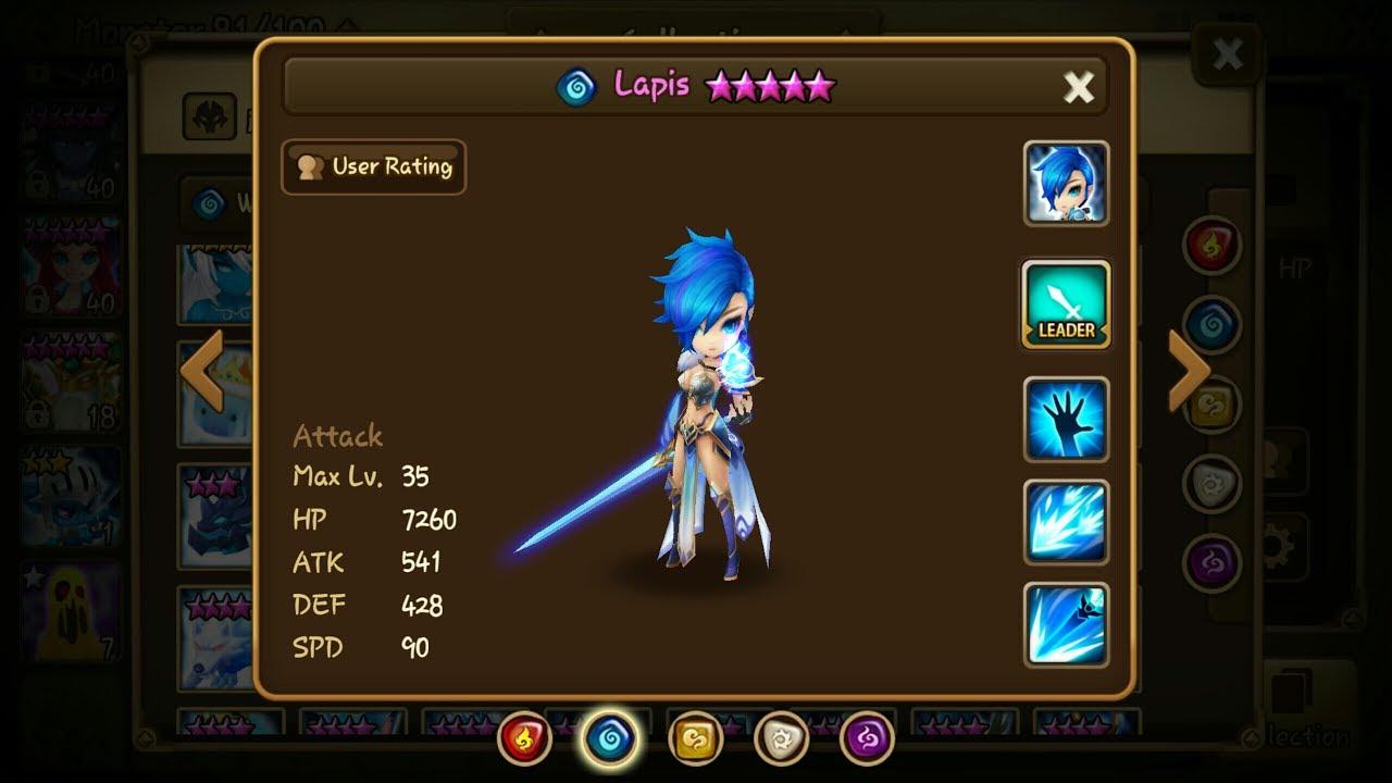 summoners war lapis water magic knight damage test youtube