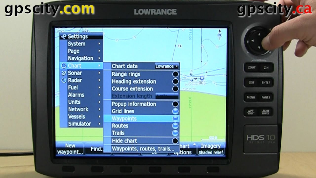 Chart Settings In The Lowrance HDS 10 Generation 2.