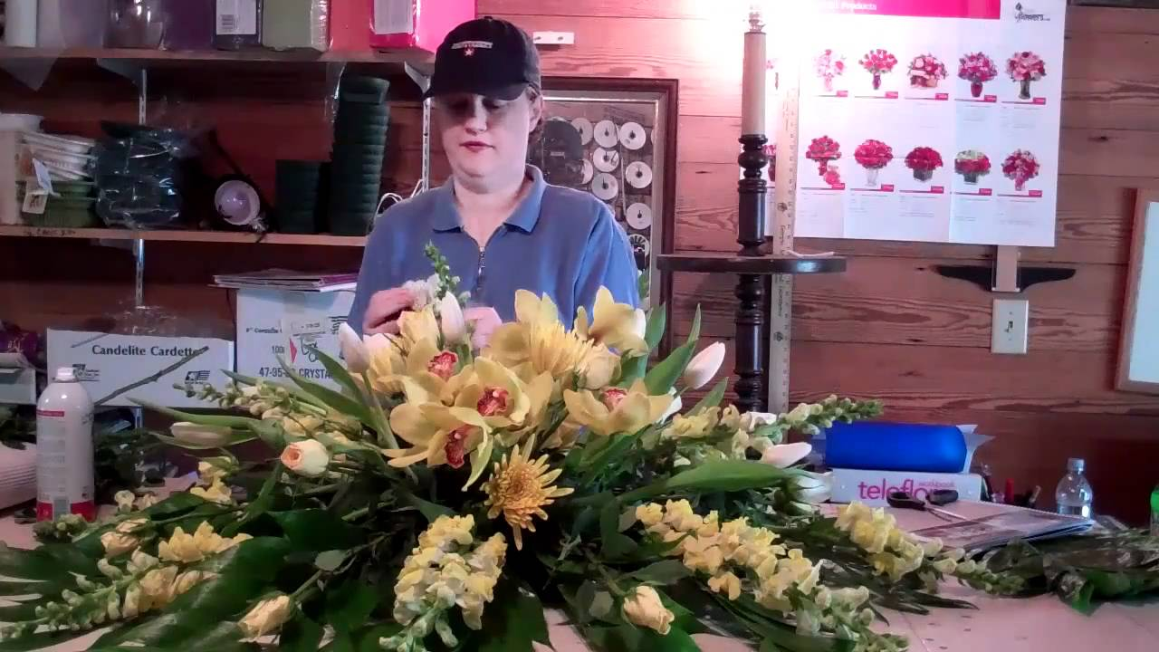 A peek inside the flower barn as i make a casket spray youtube mightylinksfo