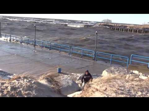 High Waves After Strong Winds Hit Lake Michigan