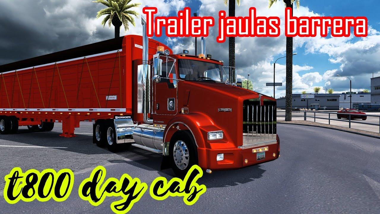 Descargar Kenworth T800 Day Cab |Trailer Jaulas Barrera| ATS 1.37