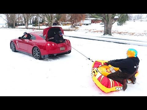 INCREDIBLE GTR SNOW SLEDDING!!