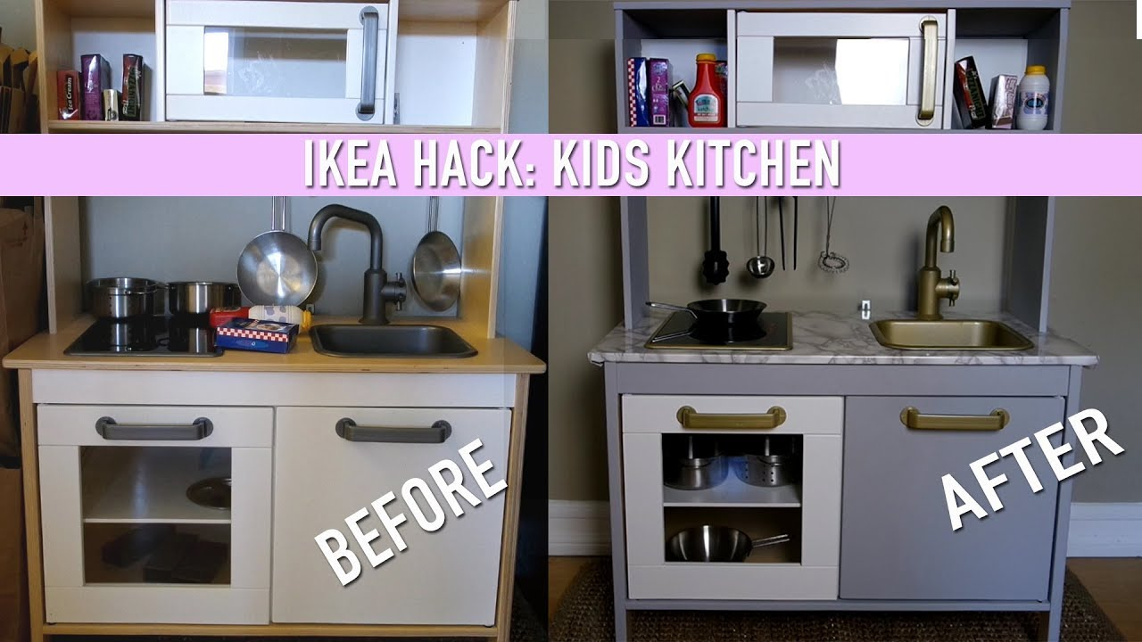 Ikea hack diy kids kitchen set youtube for Ikea child kitchen set