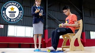 Fastest time to solve 3 Rubik's cubes with hands and feet - Guinness World Records Day 2018