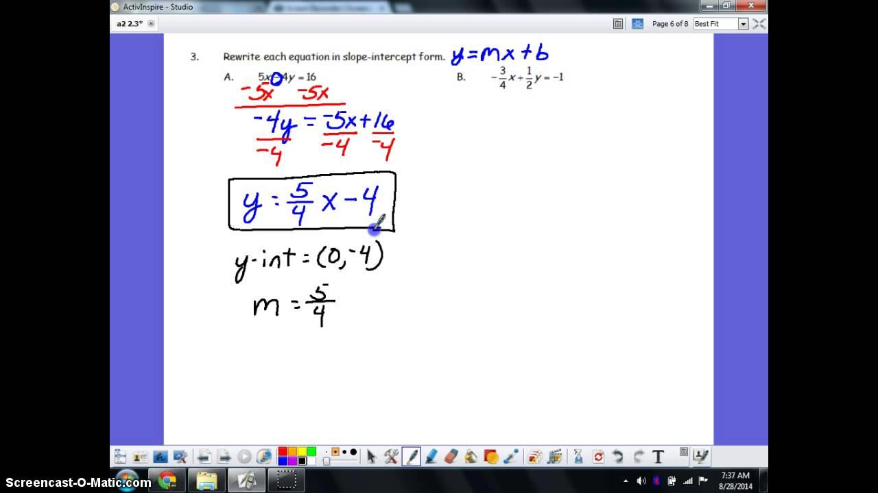 Rewriting equations in slope intercept form youtube rewriting equations in slope intercept form falaconquin
