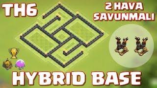 Clash of Clans - 6.Seviye Köy Binası - 2 Hava Savunmalı Ganimet ve Kupa Koruma Düzeni / Hybrid Base