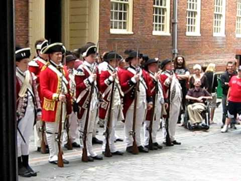Redcoats on the side of Old State House Boston - YouTube