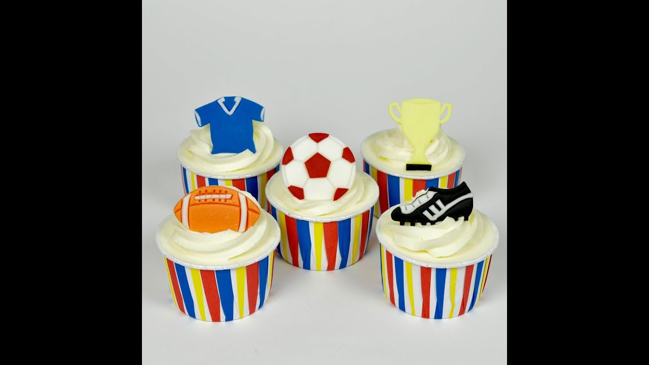 How To Make Sports Football Rugby Cupcake Toppers Sugar Cake Decorations Step By Tutorial