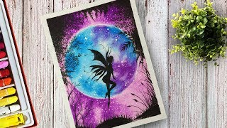 How to draw Fairy at Moonlight Scenery With Oil Pastel step by Step