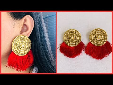 How To Make Designer Earrings At Home | Trendy Bridal Earrings | Jewelry Making