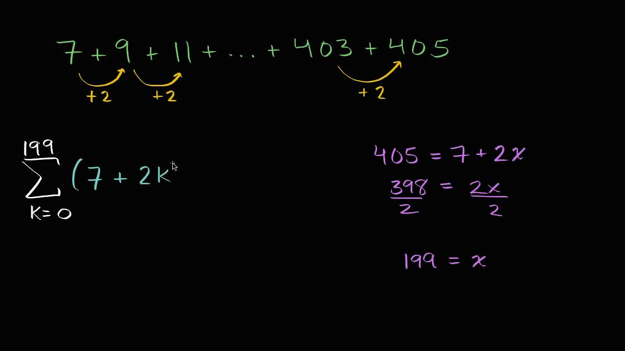 Arithmetic series in sigma notation (video) | Khan Academy