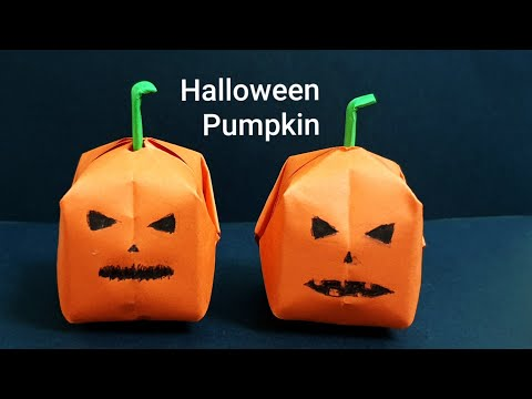 DIY origami Halloween pumpkin, easy paper origami