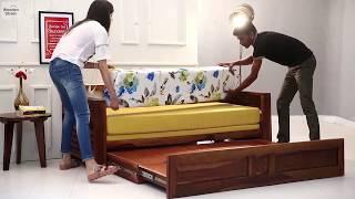 Sofa Cum Bed : Buy Feltro Sofa Cum Bed ( Honey Finish) Online at Low Price @ Wooden Street