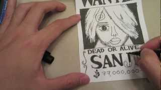 How to draw wanted poster of Sanji