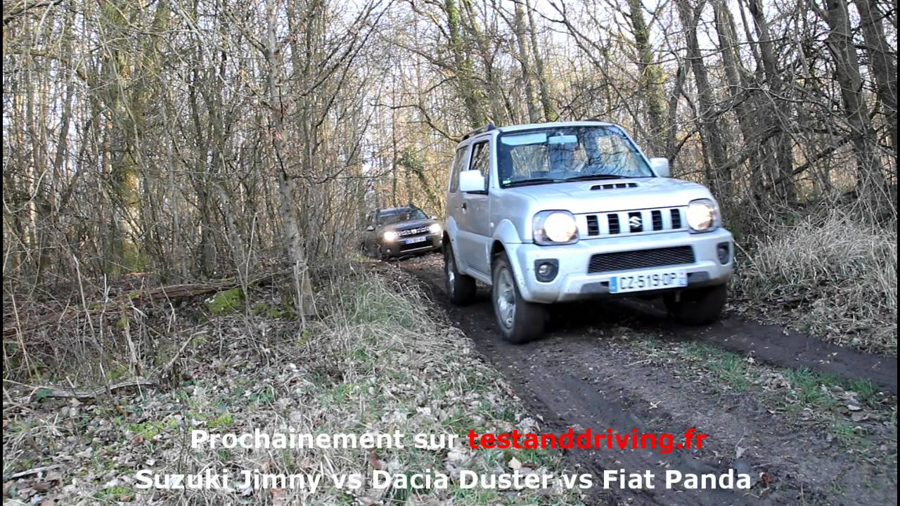 comparatif 4x4 petit budget t d dacia duster vs fiat panda vs suzuki jimny youtube. Black Bedroom Furniture Sets. Home Design Ideas