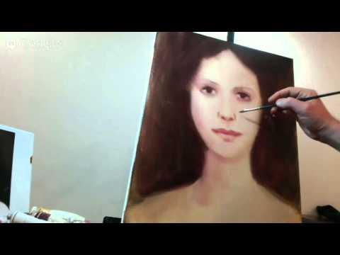 Рисование портрета маслом в технике сухая кисть