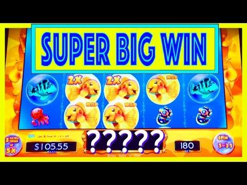 "SUPER BIG WIN!! ""GOLDFISH DELUXE"" Slot w/ MY DAD! - Slot Machine Bonus Win Videos - 동영상"