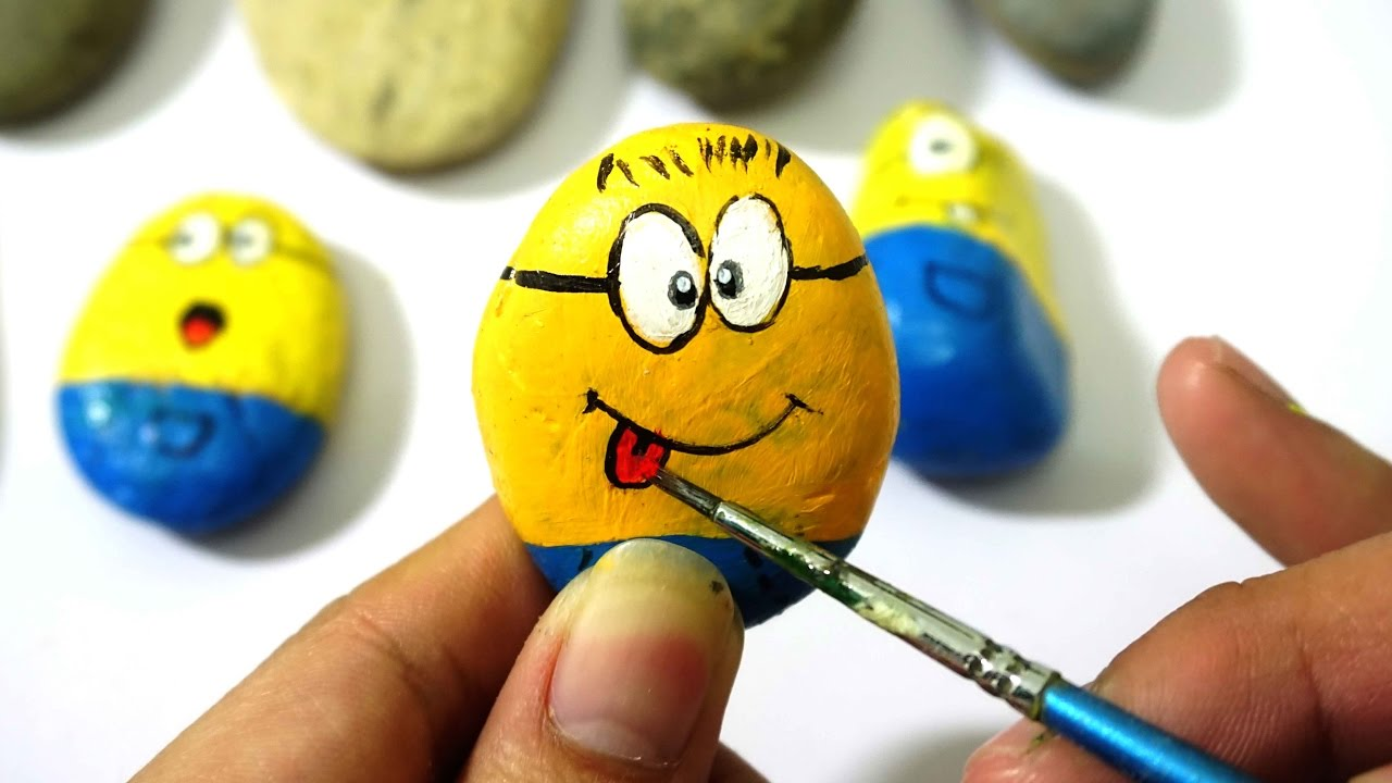 How To Make Minions Paint For Kids, Rock Painting - Coloring ...