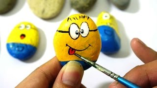 How To Make Minions Paint For Kids, Rock Painting - Coloring Stones For Creative Kids
