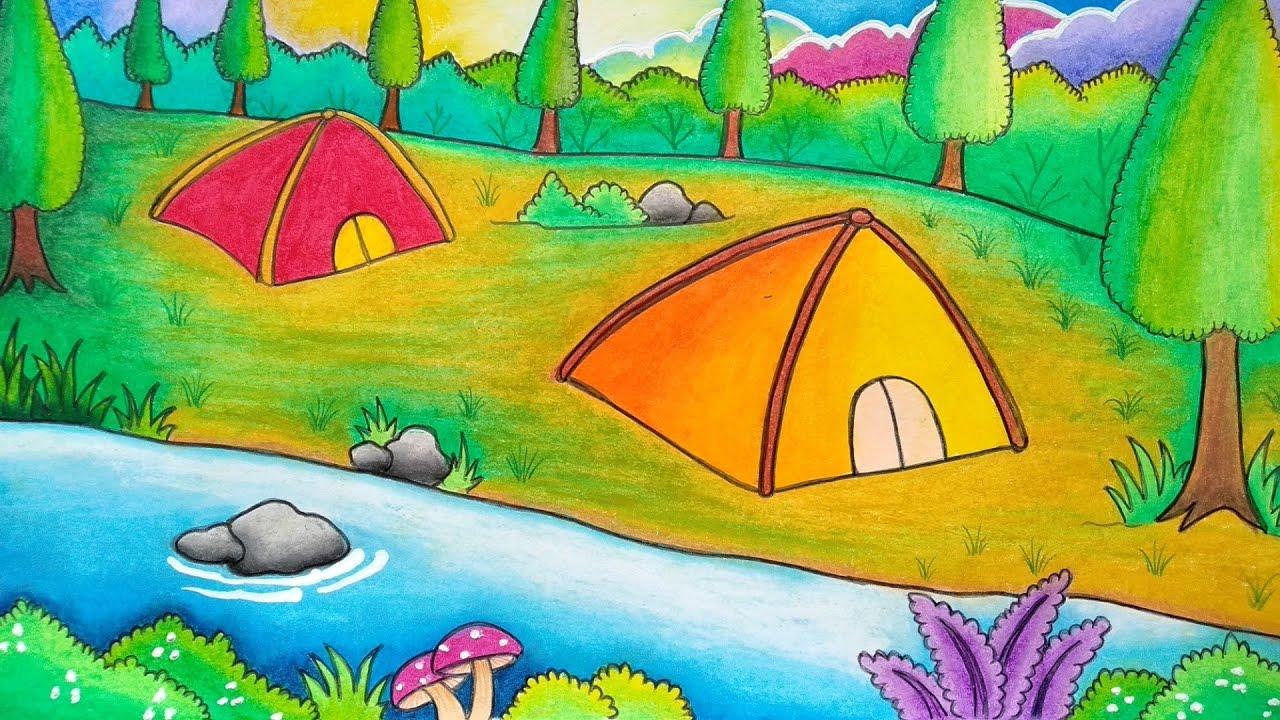 Menggambar Perkemahan Menggambar Pemandangan Hutan Malam Hari Belajar Menggambar Dan Mewarnai Youtube
