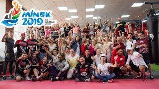 Волонтеры II Европейских игр на звездной тренировке по фитбоксу