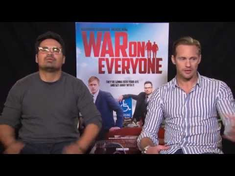 Interview Alexander Skarsgard & Michael Pena for WAR ON EVERYONE + being cops + TRUE BLOOD ending