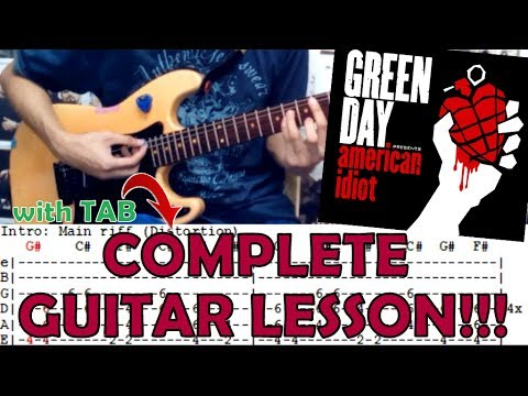 American Idiot - Green Day(Complete Guitar Lesson/Cover)with Chords and Tab